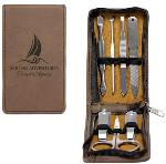 7-Piece Dark Brown Laserable Leatherette Manicure Gift Set
