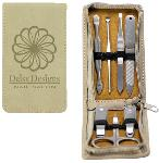 7-Piece Light Brown Laserable Leatherette Manicure Gift Set