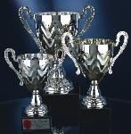 Silver-Tone Metal Trophy Cup on Marble Base